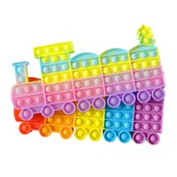 Arco-íris Tie Dye Engraçado Pioneer Fidget Brinquedos Poppers Children Bubbles Educacional Natal Trem Pai-Criança Descompression Jogo Presentes G83BVTI