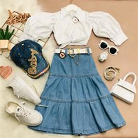 Clothing Sets 2pcs Baby Girl\u2021s Outfits Clothes Casual Lapel Bandage Long Sleeve Button Shirt Pleated Denim Mid-Length Skirt For 1-6Y