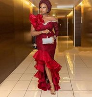 Aso Ebi High Low Mermaid Prom Dresses Beaded Neckline Long Sleeves Cocktail Party Evening Gowns Ruffles Robe De Soiree