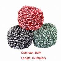 Cuerda de hilo 150 metros / rollo 3mm cuerdas de algodón cuerda para el hogar hecho a mano de regalo de Navidad empaquetando proyectos de artesanía DIY E8OB #