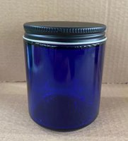 8oz glass candle jar bottle container clear amber white green blue wax cream vessel stash with metal lid