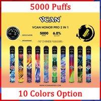100% original vcan honor pro 2 em 1 opções e cigarro descartável vape caneta recarregável bateria 5000 sopros cigarros 10 cores opção
