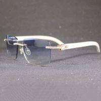 Retro Rhinestone Çerçevesiz Güneş Gözlüğü Erkekler Ve Kadınlar Metal Doğal Bufalo Boynuz Ahşap Kare Açık Gölge 6IT3