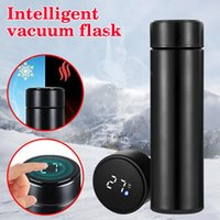 Water Bottles 500ml Bottle Vacuum Insulated Mug 304 Stainless Steel Led Touches Screen Temperature Display Cup Uacr Flasks Thermo