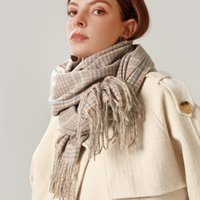 Scarves 2021 Winter Scarf European And American Street Tassel Imitation Cashmere Retro Simple Plaid Warm Shawls For Women