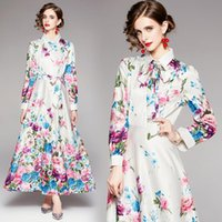 Casual Dresses 2021 Autumn Runway Floral Maxi Dress Women Long Sleeve Ribbon Bow Slim Shirt Neck A-Line Printed Party Lace Up Frock