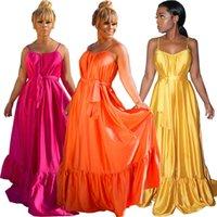 Günlük Elbiseler Avrupa ve Amerikan kadın Artı Boyutu Elbise Katı Parlak Kemer Gevşek Uzun Pileli Askı Etek S / M / L / XL / XXL