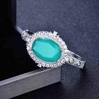 Paraiba Stones Tourmaline Emerald Gemstone Diamonds Bangle Charm Silver Color Stainless Steel Bracelets Fine Jewelry Wholesale