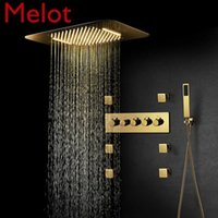 Ti-PVD Gold Shower Systems Bathroom Faucets Rain Set Music LED Head Thermostatic Brass Concealed Mixer Sets