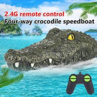 2.4G Simulation RC Crocodile Speedboat Remote Control Electric Head Spoof Toys RTR Vehicle Model Novelty Game Toy Ship Child Boys Gifts