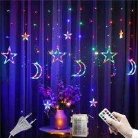 Cuerdas LED Star String Light Leds Luna Lámpara de Cortina de Navidad Luna 3.5M Habitación Iluminación de hadas Boda Luces Decorativas 220V
