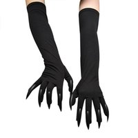 Five Fingers Gloves Funny Festival Witch Cosplay Halloween Long Nails Scary Fancy Props Black Mitten Boy Kids Joking Tools Creativity