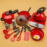 Pretend Küchenspielzeug Simulation Küche Essen Kochgeschirr Pot Pan Kids Talend Play Kitchen Set Spielzeug für Mädchen Puppe Food 210607