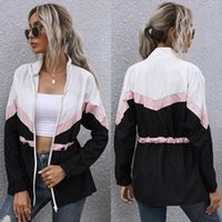 Women's Jackets White Stitching European And American Zipper Lazy Style Thin Sweater Novelty Basic Casual Hooded Jacket Clothing