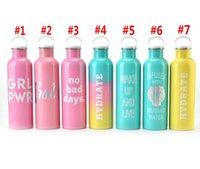 750 ملليلتر زجاجة المياه قارورة فراغ معزول فم واسع الفولاذ المقاوم للصدأ زجاجة المياه مع مقبض البحر الشحن WWA247