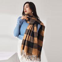Scarves 2021 Classic Plaid Women Scarf Cashmere Shawl Winter Wrap Superior Quality Thickening Female Bandanna Pashmina Muffler