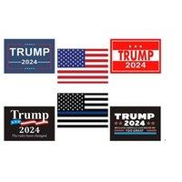 6pcs Set Donald John Trump 2024 EE. UU. Elección Etiquetas engomadas de automóviles Los accesorios de las banderas nacionales estadounidenses letras impresas pegatina de pastor EWB5898