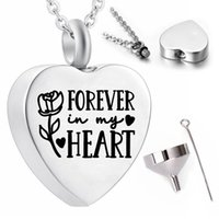 Carved rose flower pattern pendant necklace souvenir forever in my heart heart-shaped stainless steel ashes urn