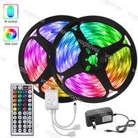 LED Strip Light 5m 10m 15m 20m 5050 DC12V 16.4FT 32.8FT 50FT 66FT multicolore con 44Keys Controller AC100-240V Adattatore HDTV TV Desktop Screen Sfondo Sfondo EUB