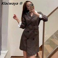 Klacwaya Frauen Mode Chic Dress-Stil Blazer 2021 Zweireiher Elegante Bogen Outwear Mantel Plaid Vintage Lange Jacke Mäntel Frauenanzüge