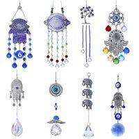Lucky Hamsa Turc Blue Evil Eye Cristal Charm Charme Suncatcher Pendentif Vent Chemin d'éolienne Amulette Accueil Mural Jardin Suspending Décoration Décoration Décorations