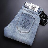 Jeans pour hommes printemps été bleu coton slim élastique ltaly aigle aigle décontracté pantalon de mode masculin classique denim pantalon