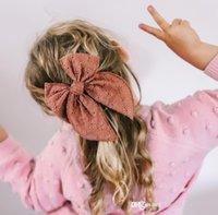 Sweet Girls Big Bowknot Acessório de Cabelo Acessório Hollowed-Out Crianças Bordadas Cabelos Clipe 6 Polegada Bow Barrette Candy Color Headwear D185