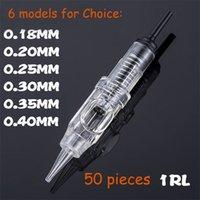 50 ADET Kolay Tıklama Evrensel 0.18 / 0.2 / 0.25 / 0.3 / 0.35 / 0.4mm 1rl Kalıcı Makyaj Kartuşu İğneleri Kaş Dövme Makinesi için 600D-G 210323