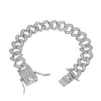 Iced Out Zircon Bracelet For Men Miami Cuban 13MM Hip Hop Bling Pave Rhinestone Rapper Jewelry Link, Chain