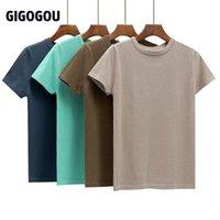 Gigogou Basic Pamuk Yaz T Gömlek Kadın Örme Kısa Kollu Tee Gömlek Yüksek Esneklik Nefes O Boyun Kadın Üst Tişört 210322