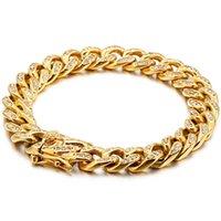 HiPHOP En acier inoxydable Bijoux Bijoux Accessoires pour hommes Femmes 11mm Miami Miami Gold Cadelecles de chaîne cubaine avec zircon cz brillant