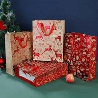 Weihnachtsgeschenk Wrap Kraft Taschen Weihnachten Sortierte Papiertüte Masse mit Griffe für Party Supply DWA8836