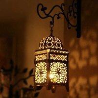 금속 중공 촛대 공예 촛불 라이트 차 빛 홈 장식 모로코 촛대 샹들리에 결혼식 장식 SH190924