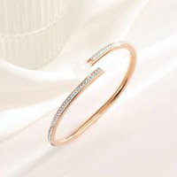 Fashion luxury nail bangle classic titanium steel belt diamond love bracelet creative design jewelry exquisite gift box packaging