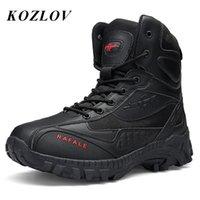 Buty Wojskowe Kostki Bojowe Mężczyźni Prawdziwej Skóry Przypadkowe Buty do polowania Trekking Taktyczne Czarne Bot