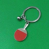 Keychains 10PCS Fashion Table Tennis Racket Style Key Chain Ring Holder Metal Car Keychain Gift Wholesale Laser LOGO J204