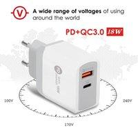 PD Tipi-C 18 W Şarj QC3.0 Uyarlanabilir Hızlı Şarj USB Cep Telefonu Şarj Için Çift Port Duvar Seyahat Şarj Iphone 12 Samsung