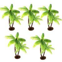 Decorative Flowers & Wreaths 5Pcs Mini Plastic Coconut Palm Tree Artificial Plant Craft Micro Landscape Aquarium Decoration Home Office Desk