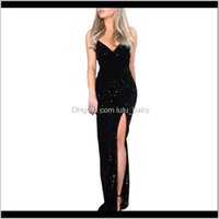 Casual Womens Clothing Apparel Drop Delivery 2021 Feitong Deep V Sequins Women Wrap Ruched Sleeveless Black Long Dresses Ladies Cocktail Nigh