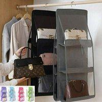 Storage Boxes & Bins 6 Pocket Folding Hanging Handbag Purse Large Clear Holder Anti-dust Organizer Rack Hook Hanger 7 Color