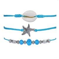 Bracelet Creative Bohemian Starfish Shell Blue Bead Anklet Set
