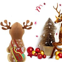 Dog Apparel Pet Cat Gifts Christmas Party Winter Clothes Coral Cotton Hoodie Elk Costume Warm Hooded 2-legged Tops