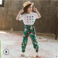 Kids Fashion Clothes Set Summer 2021 New Girls Sports Clothing Children Set Leisure Sets Print 2 Colors 2 Piece Size4-14 ly202