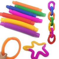 50pcs lot Sensory Fidget Twist Tubes Toy Stress Anxiety Relief Stretch Telescopic Bellows Extension Finger Straw Spring Tube E101