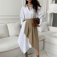 Women's Suits & Blazers LISCN 2021 Fall Clothes Two Piece Set Female 2 Outfits For Women Irregular Shirt Dress Pleated Korean Fashion Suit