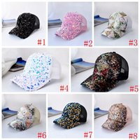 8 Styles Party Hat Fashion Sequin Cap Baseball caps Summer Outdoor Breathable Sunshade Women's Net Hats Q125