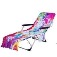 넥타이 염료 해변 의자 사이드 포켓으로 덮개 다채로운 chaise 라운지 수건 태양 안락선 수영장 일광욕 가든 DWD5811