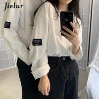 Jielur Style stile coreano moda manica lunga T-shirt da donna Harajuku BF T-shirt primavera coppia allentata tees bianca top hipster abbigliamento