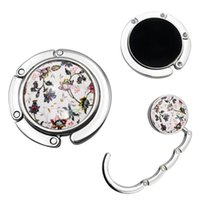 Hooks & Rails Dragonfly Holder Folding Table Mounted Travel Ceramic Peacock Portable Round Butterfly Flower Delicate Handbag Hook Purse Hang