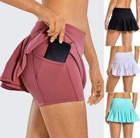 L-18 Теннисная юбка Beach Beach Beach Golf Sport Pliated Studious Yoga Outfits бегущий фитнес шорты Быстрый сушильный двухслойный защитный тренажерный зал одежды